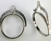 Steampunk Vintage Rhodium plated Spinner Swivel Coin Holder Pendant