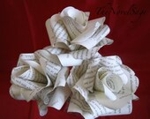Ivory Amour -Medium Bouquet of Salvaged Literature Paper Roses