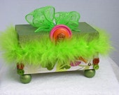 Trinket Box Decorative Green With Lime Green Feathers and Bow and Small Colored Buttons Ready To Ship