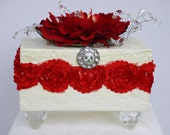 Wedding Box  Decorative Textured White with Red Rose Trim Red and White Red Peony on top acrylic Rhinestone Button on Front