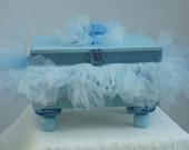 Decorative Box Jewelry Box Two Tone Blue Box  with Tutu