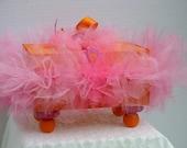 Decorative Box  Wood  Orange with a Hot Pink Tutu Box and Hot Pink Satin Ribbon
