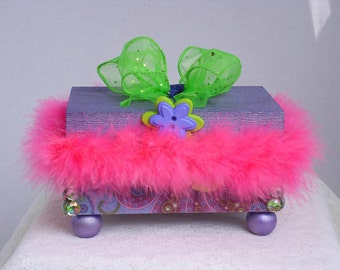 Trinket Box Decorative Hot Pink Feather Boa & Lime Green Bow Ready To Ship