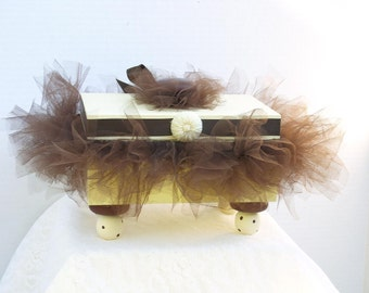 Trinket Box Decorative Antique White with Chocolate Brown Tutu Ready To Ship