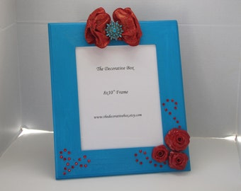 Decorative Frame Wood Frame Blue & Red