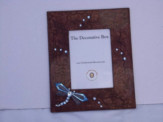 Textured Decorative Frame with Dragongly and Rhinestones