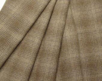 Mushroom Plaid, Wool Fabric for Rug Hooking and Applique, Fat 1/4 yd, J702