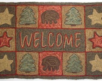 "Rug Hooking Pattern, Northwoods Welcome 22"" x 36"", J778"