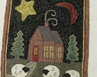 """Rug Hooking PATTERN, Crestview Cottage, 20"""" x 24"""", J438, Folk Art House Pattern, Primitive Rug Hooking Pattern"""