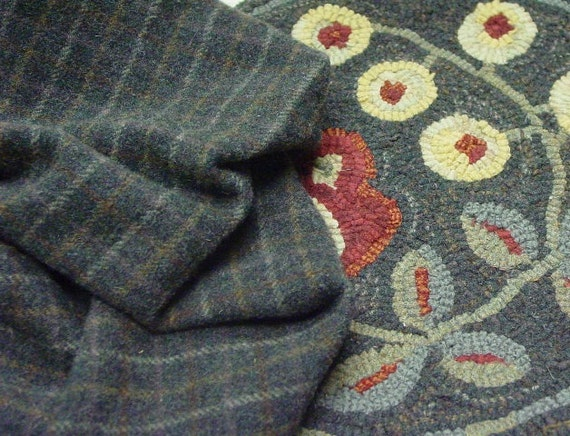 Felted Wool Fabric, 1 yard, Dusty Dark Blue Plaid, J363