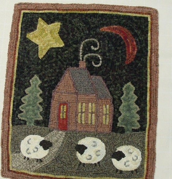 "Rug Hooking PATTERN, Crestview Cottage, 20"" x 24"", J438, Folk Art House Pattern, Primitive Rug Hooking Pattern"