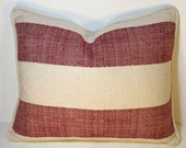 Decorative Pillow - 16 by 20 inch - Ranch Stripe/red/natural -Throw Pillow - Red - Natural