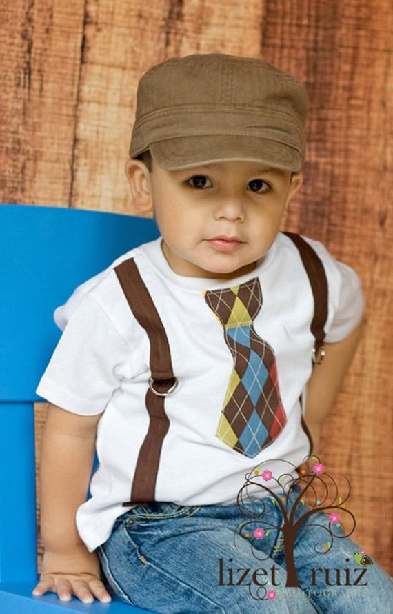 Items Similar To Brown Argyle Tie With Suspenders Toddler