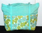 Blue and Green floral 6 pocket cotton purse