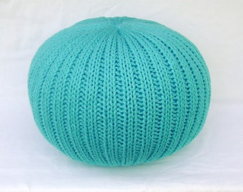 Knitted Pillow Pouf Ottoman Turquoise