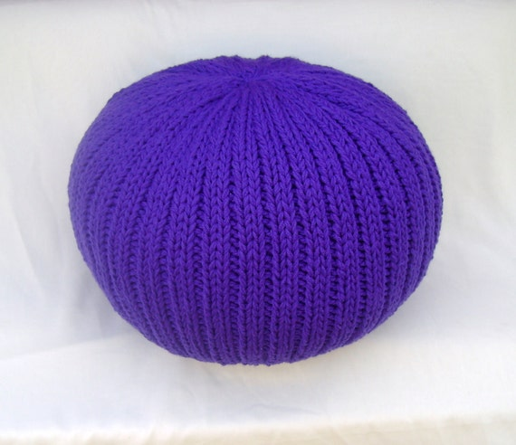 Knitted Pillow Pouf Ottoman Amethyst