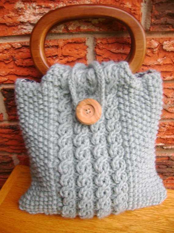 SALE. Hand  Purse Tote knitted light teal withwooden handles