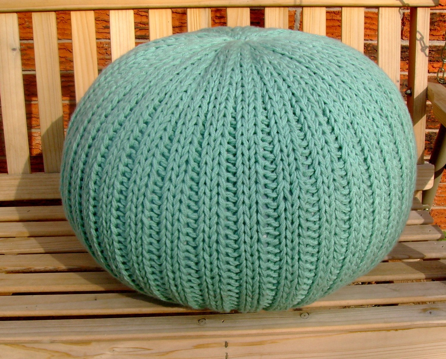 knitted pouf ottoman light teal. Black Bedroom Furniture Sets. Home Design Ideas