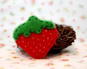 Baby Strawberry Wool Felt Hair Clip
