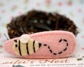 Busy Bumble Bee Pink Wool Felt Hair Clip