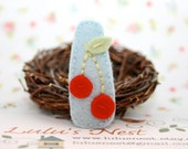 Red Cherries on Light Blue Wool Felt Hair Clip
