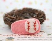 Wool Felt Baseball Hair Clip on Pink