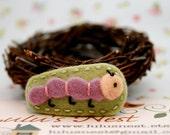 Cutest Little Baby Caterpillar Light Green Wool Felt Hair Clip