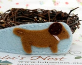 Dachshund Puppy Baby Blue Wool Felt Hair Clip