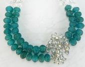 Statement Necklace with Vintage Teal Handmade Beads and Vintage Brooch