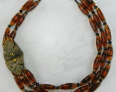 Striped Vintage Czech Glass Bead Statement Necklace with Art Nouveau Buckle