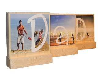 PERSONALIZED PHOTO GIFTS for Dad- Great Fathers Day Gifts Personalized  Photo Blocks--Great Christmas Gifts