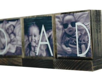 PERSONALIZED PHOTO GIFTS for Dad-Great Fathers Day Gifts for Dad,Pop -Personalized wooden photo blocks-Great Christmas Gifts