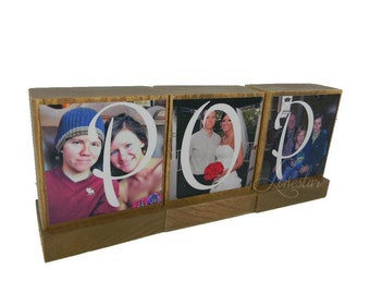 PHOTO GIFTS for DAD-Great Fathers Day Gifts for Dad,Pop,Mom- Personalized wooden photo blocks