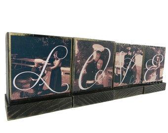 GIFTS FOR DAD-Great Fathers Day Gifts for Dad,Pop,Mom- Personalized wooden photo blocks