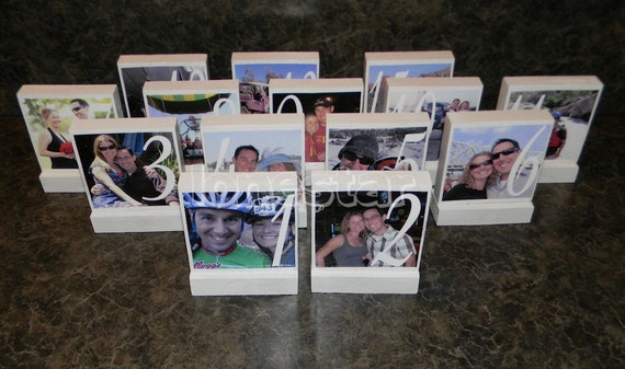 Set of 14 Personalized  Wedding Photo Blocks - Custom Table Numbers-Centerpieces-Place Cards  Photo Blocks