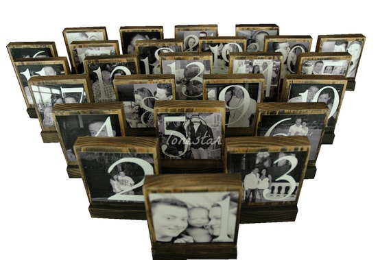Personalized Theme Wedding Photo Blocks - Custom Table Numbers-Centerpieces-Place Cards  Photo Blocks