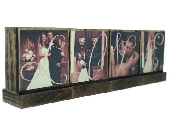 PERSONALIZED PHOTO BLOCKS Gifts To Spell Out Love-Great Wedding Gifts-Anniversary Gifts - Custom Photo Displays-