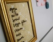 antique gold dry erase board- MemoMeSweetly