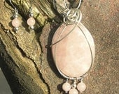 Rose Quartz Wire Wrapped Pendant & Earrings