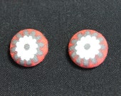 Fabric Earrings - Gray, White and Red Orange Floral - Fabric Covered Buttons 5/8 inch - Stainless Steel posts - E15