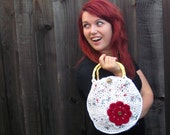 Circle Upcycled Plastic Bag Purse (crochet lined purse made from grocery bags, with flower and bamboo handles)