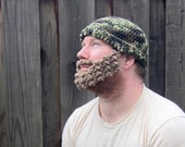 Beard Hat (crochet camo camouflage hat with detachable light brown beard attachment)