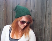 Link Legend of Zelda Hat (crochet slouchy stocking cap, green)