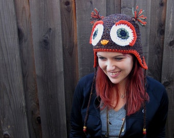 Owl Hat in Brown, Olive Green, & Burnt Orange (crochet ear flap animal beanie)