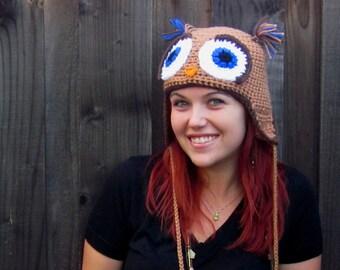 Owl Hat in Tan, Brown, & Blue Sparkle (crochet ear flap animal beanie)