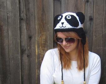 Panda Hat (crochet animal hat with ear flaps)