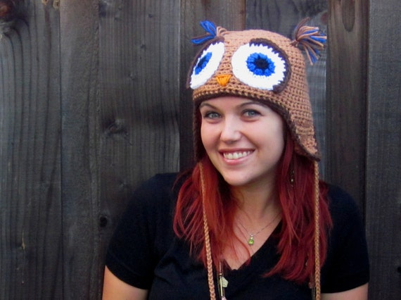 CUSTOM LISTING for Dizzy! Owl Hat in Tan, Brown, & Blue Sparkle (crochet ear flap animal beanie)