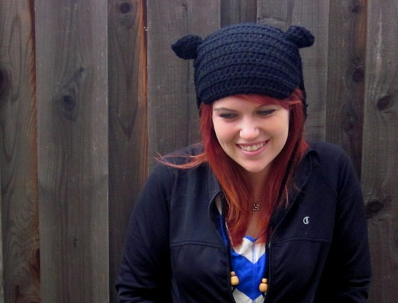 KITTY HAT, Black (crochet ear-flap hat). Sales donated to cat rescue group.