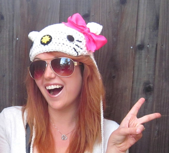 Hello Kitty Hat (crochet Sanrio-inspired cat beanie)
