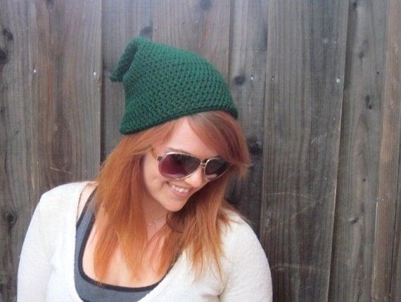 Link Legend of Zelda Hat (crochet slouchy stocking cap, green)